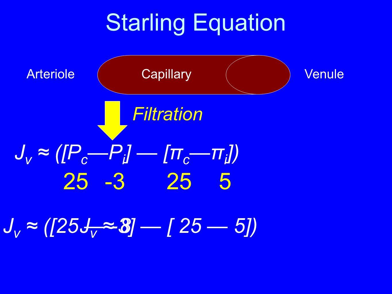 Starling Equation 25 -3 25 5 Jv ≈ ([Pc—Pi] — [πc—πi])
